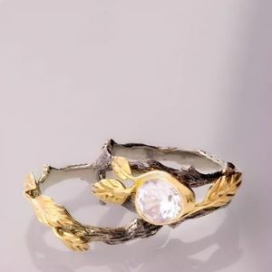 Leaf twig stackable ring set nature themed size 8